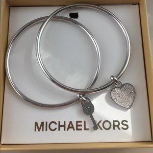 Jewelry - Michael Kors silver bangle heart and key set